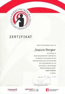 Zertifikat Tierschutzqualifizierte Hundetrainerin