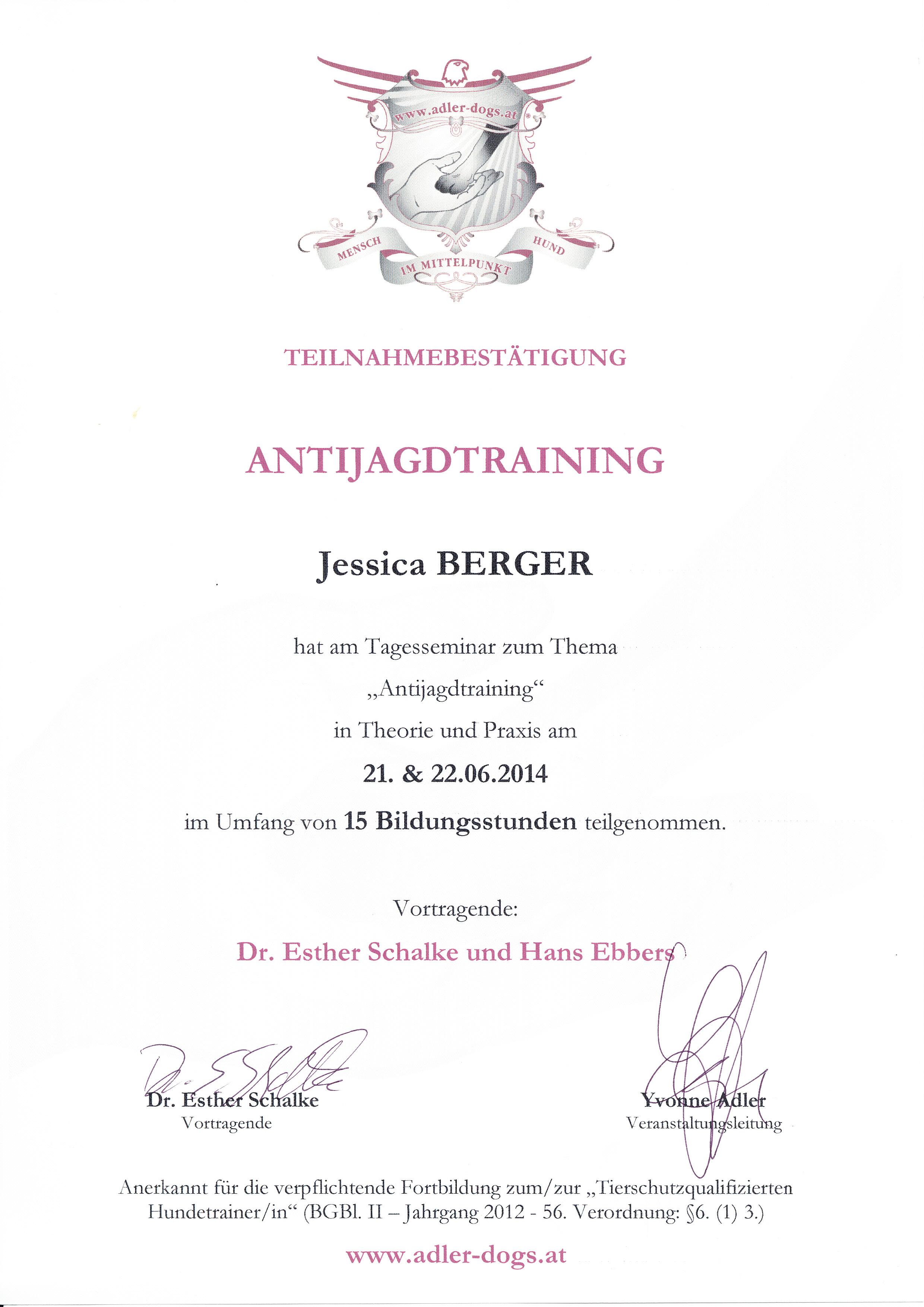Antijagdtraining - Esther Schalke