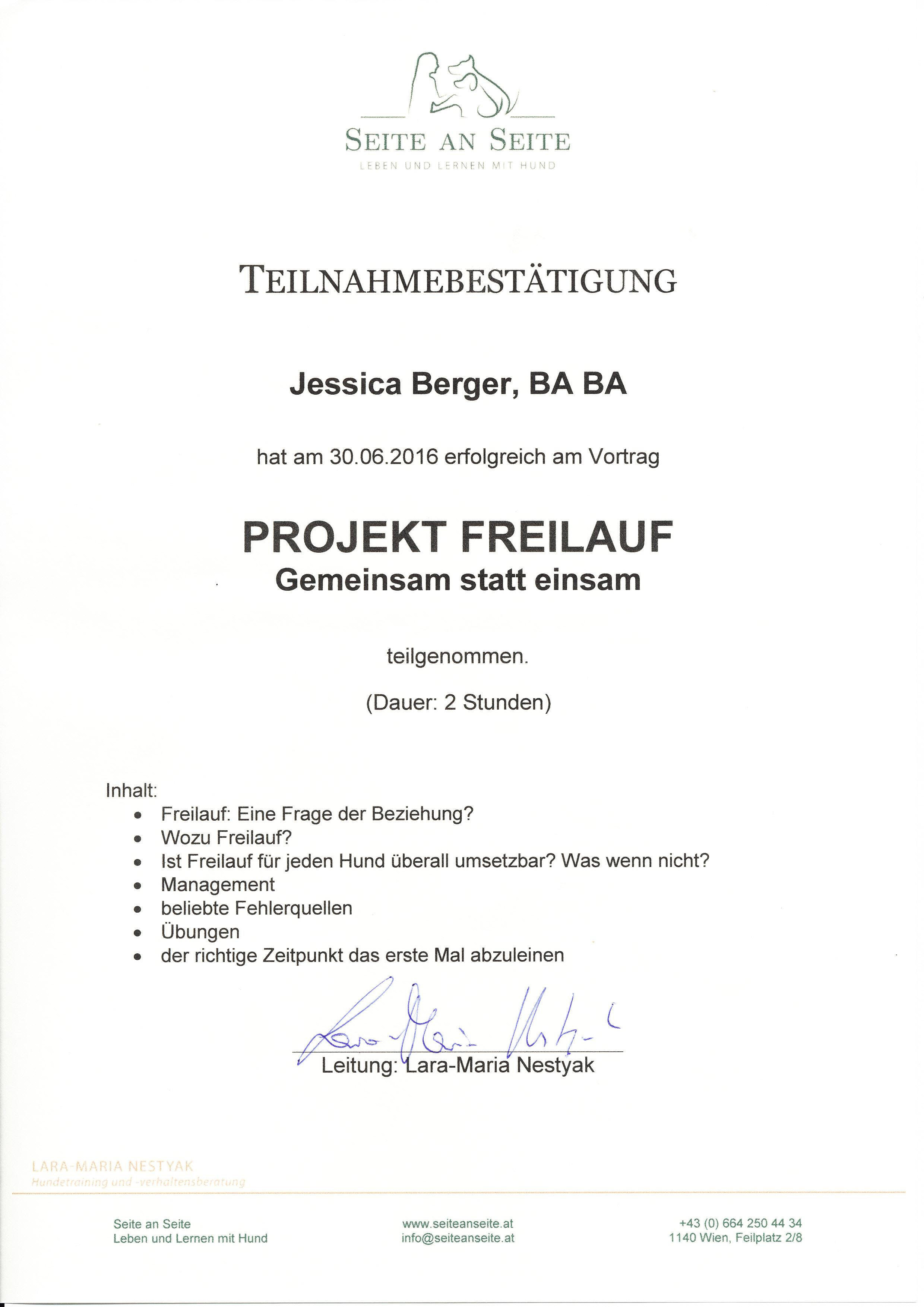 Projekt Freilauf - Lara-Maria Nestyak